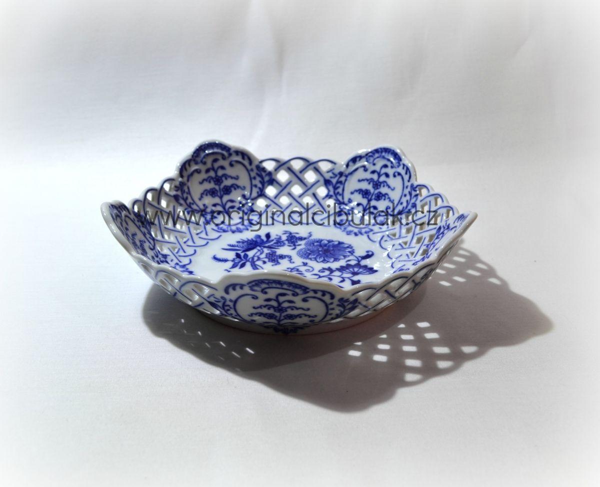 Zwiebelmuster Dish Pentagonal Perforated 19cm, Original Bohemia Porcelain from Dubi