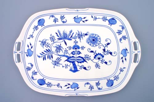 Zwiebelmuster Sandwich Sqaure Tray 48cm, Original Bohemia Porcelain from Dubi