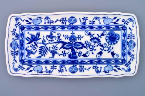 Zwiebelmuster Platte 4-eckig 33cm Original Bohemia Porzellan aus Dubi