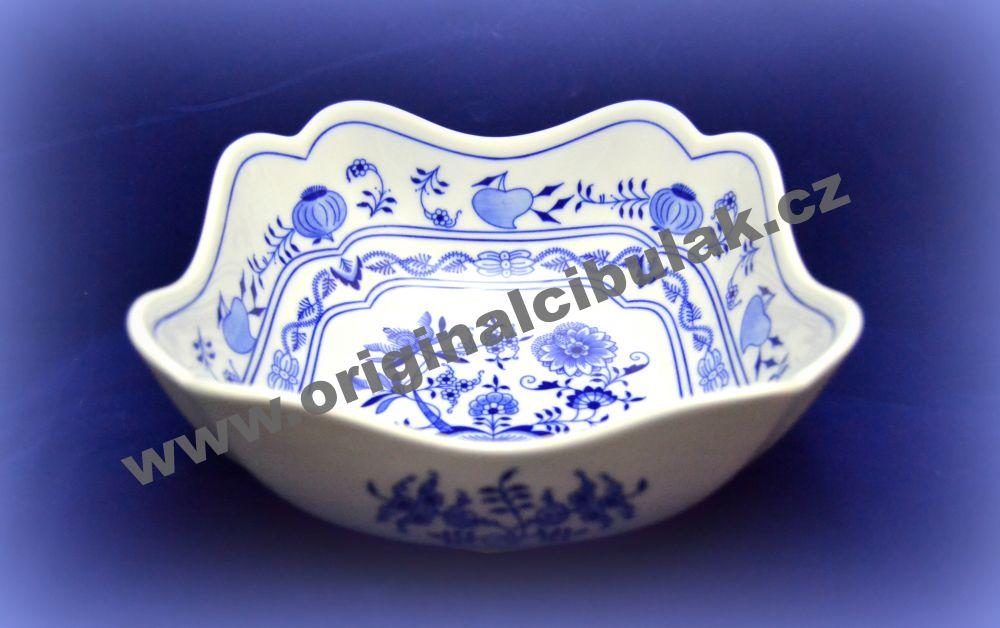 Zwiebelmuster Deep Square Salad Dish 21cm, Original Bohemia Porcelain from Dubi