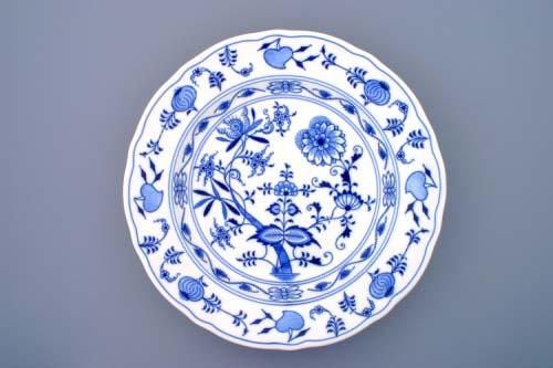 Zwiebelmuster Dish Round Deep 34cm, Original Bohemia Porcelain from Dubi