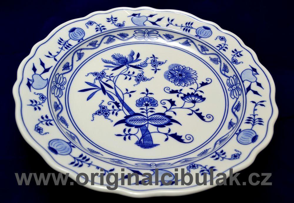 Zwiebelmuster Round Deep Dish 31cm, Original Bohemia Porcelain from Dubi