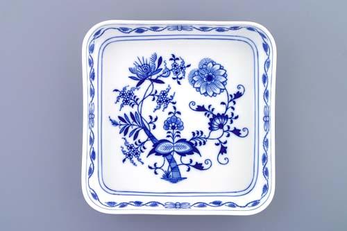Zwiebelmuster Square Salad Dish 21cm,Original Bohemia Porcelain from Dubi