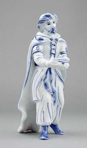 Zwiebelmuster King Kaspar 16cm, Original Bohemia Porcelain from Dubi