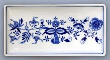 Zwiebelmuster Fischtteller Rechteckig 24,7cm Original Bohemia Porzellan aus Dubi
