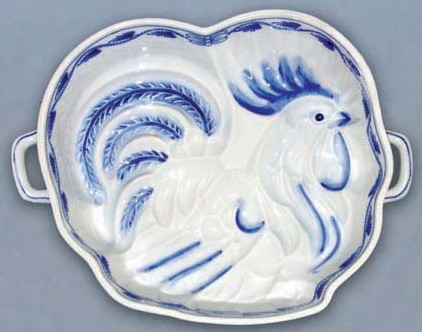Zwiebelmuster Baking Form Rooster 27.6cm, Original Bohemia Porcelain from Dubi