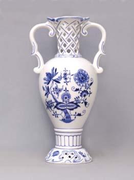 Zwiebelmuster Vase 30cm, Original Bohemia Porcelain from Dubi