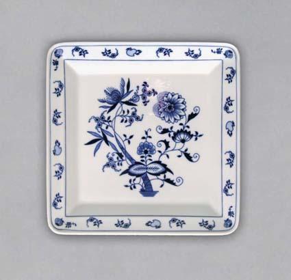 Zwiebelmuster Square Plate 21.5cm, Original Bohemia Porcelain from Dubi