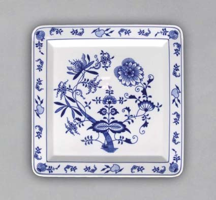 Zwiebelmuster Square Plate 27.5cm, Original Bohemia Porcelain from Dubi