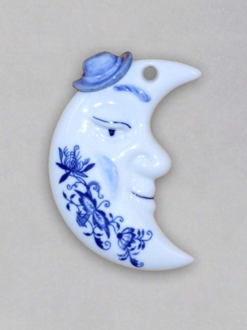 Zwiebelmuster Christmas Decoration Moon, Original Bohemia Porcelain from Dubi