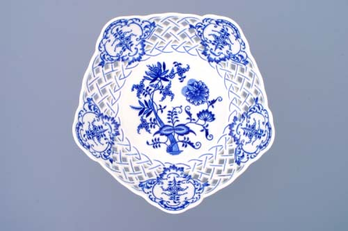 Zwiebelmuster Dish Pentagonal Perforated, Original Bohemia Porcelain from Dubi