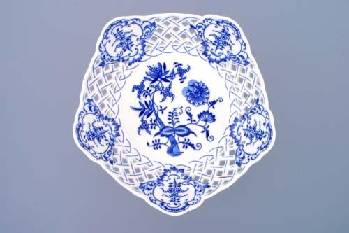 Zwiebelmuster Dish Pentagonal Perforated, Original Bohemia Porcelain from Dubi