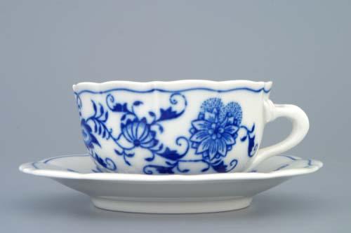 Zwiebelmuster Cup C/2+ Saucer ZC/2 0.11L + 12.4cm, Original Bohemia Porcelain from Dubi