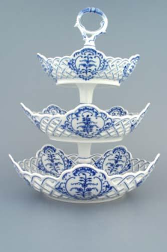 Zwiebelmuster 3pcs Tier Stand, 5 Edges Set, Original Bohemia Porcelain from Dubi