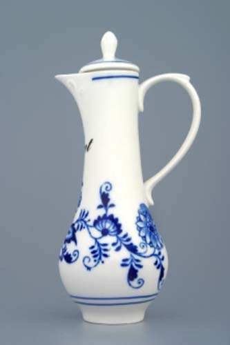 Zwiebelmuster Carafe with Cover 0.35L, Original Bohemia Porcelain from Dubi