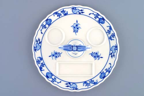 Zwiebelmuster Round Tray with Porcelain Key 21cm, Original Bohemia Porcelain from Dubi