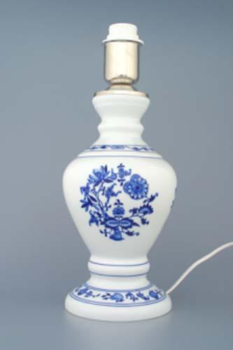 Zwiebelmuster Tischlampe Textil Schirm Original Bohemia Porzellan aus Dubi