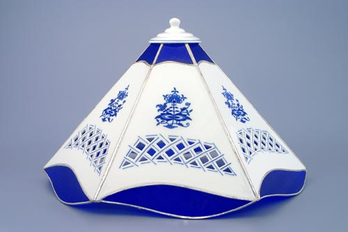 Zwiebelmuster Lampshade 6 Sides Perforated, Original Bohemia Porcelain from Dubi