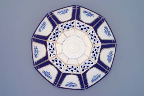 Zwiebelmuster Lampshade 9 Vitrages/Sides, Original Bohemia Porcelain from Dubi