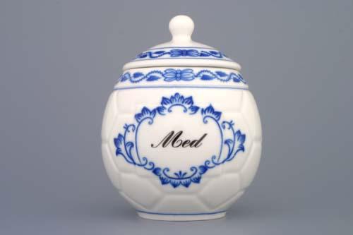 Zwiebelmuster Honigbecher mit Deckel mit Anschrift Honig Original Bohemia Porzellan aus Dubi