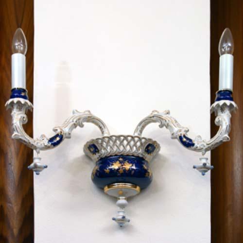 Zwiebelmuster 2 Arm Chandelier, Original Bohemia Porcelain from Dubi
