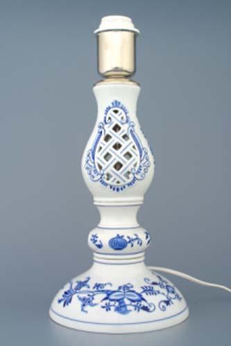 Zwiebelmuster Lamp Stand with Cashemere Lampshade,Original Bohemia Porelain from Dubi