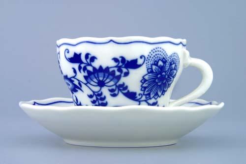Zwiebelmuster Cup A/1+ Saucer ZA/1 0.12L + 13cm, Original Bohemia Porcelain from Dubi