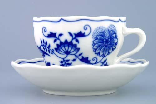 Zwiebelmuster Cup B + Saucer ZB 0.20L + 14cm, Original Bohemia Porcelain from Dubi