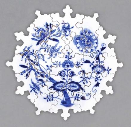 Zwiebelmuster Puzzle 25cm, Original Bohemia Porcelain from Dubi