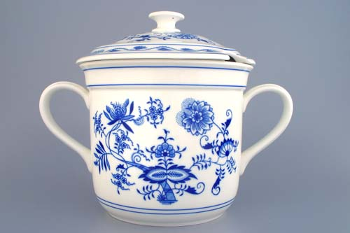 Zwiebelmuster Czech Mug with 2 Handles and Cover with Hole,Original Bohemia Porcelain from Dubi