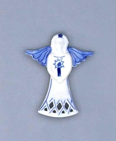 Zwiebelmuster Christmas Decoration Angel, Original Bohemia Porcelain from Dubi