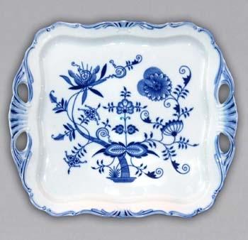 Zwiebelmuster Square Cake Plate 34cm ,Original Bohemia Porcelain from Dubi