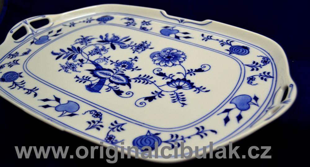 Zwiebelmustr Sadwich Square Plate, Original Bohemia Porcelain from Dubi