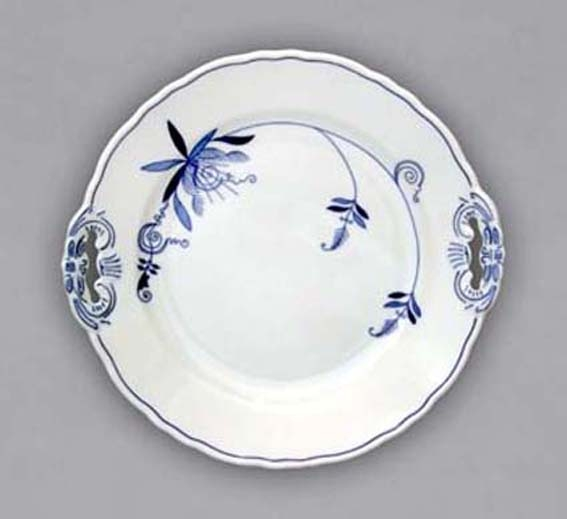 Eco Zwiebelmuster Cake Plate with Handles 28cm, Bohemia Porcelain from Dubi