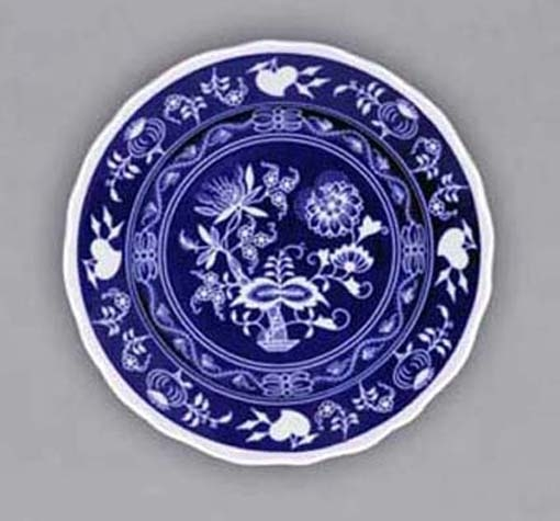 Nega Zwiebelmuster Flat Dessert Plate, Bohemia Porcelain from Dubi