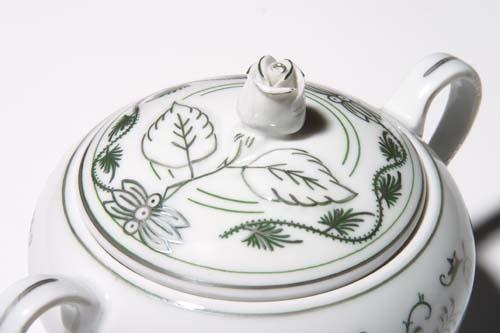 Zwiebelmuster Zuckerdose mit Henkel und Deckel Zwiebelmuster grün platin Bohemia Porzellan aus Dubi