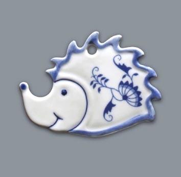 Zwiebelmuster Christmas Decoration Hedgehog, Original Bohemia Porcelain from Dubi