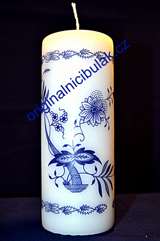 Zwiebelmuster Thick Candle, Original Bohemia Porcelain from Dubi