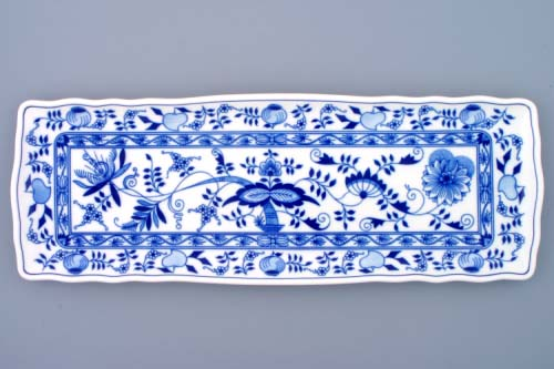 Zwiebelmuster Sanwich Square Tray 45cm, Original Bohemia Porcelain from Dubi
