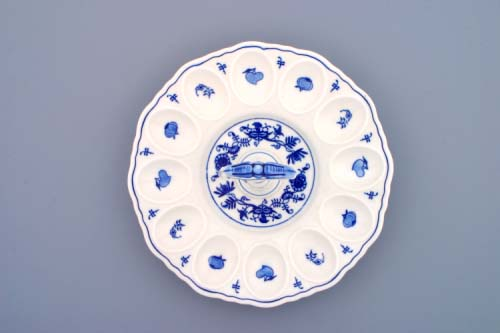 Zwiebelmuster Tray for Egg with Porcelain Key, Original Bohemia Porcelain from Dubi