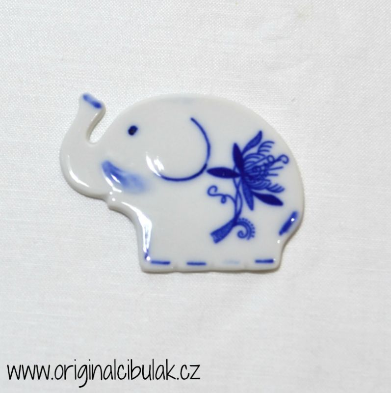 Zwiebelmuster Magnet Elefant 5,5cm Original Bohemia Porzellan aus Dubi