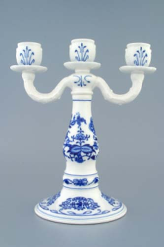 Zwiebelmuster 3 Arm Candle Holder, Original Bohemia Porcelain from Dubi