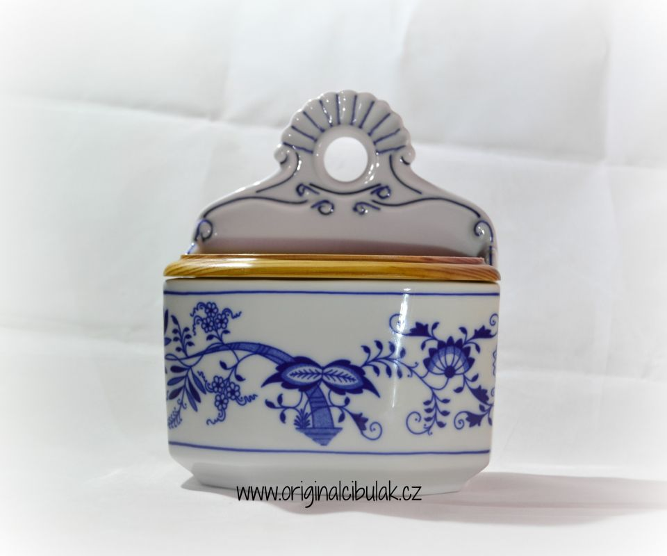 Zwiebelmuster Wall Box Spices, Original Bohemia Porcelain from Dubi