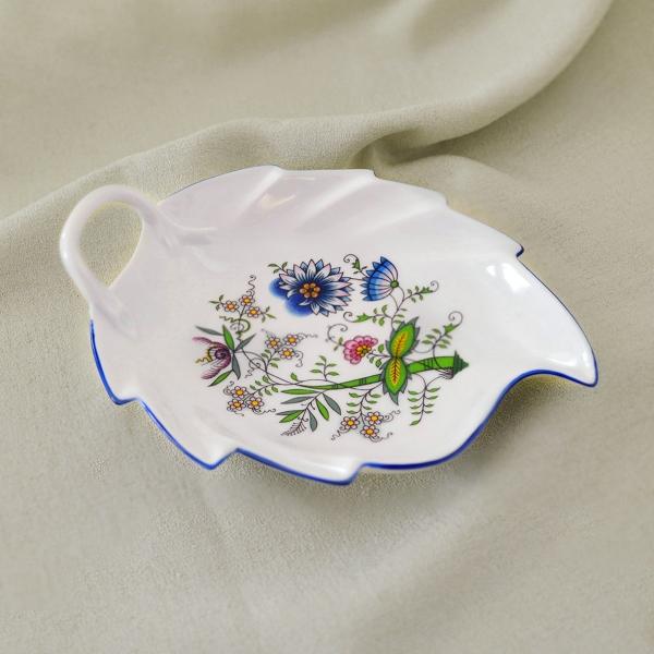 Zwiebelmuster Schüssel Blatt NATURE farbig 19cm Original Bohemia Porzellan aus Dubi