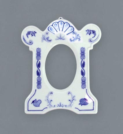 Zwiebelmuster Photo Frame standing 17cm, Original Bohemia Porcelain from Dubi