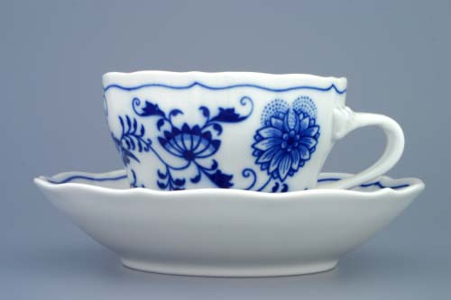 Zwiebelmuster Cup C+Saucer C 0.25L + 15.5cm, Original Bohemia Porcelain from Dubi