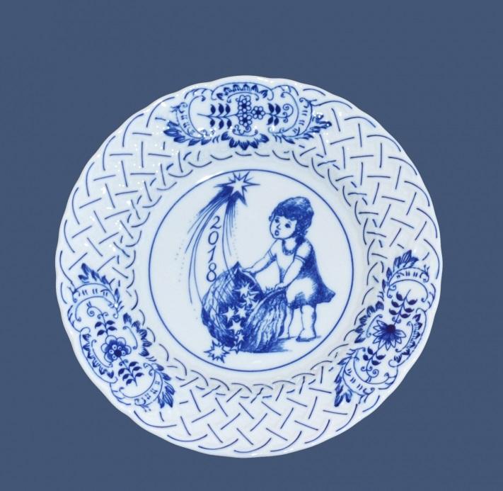 Zwiebelmuster Jahrestagteller relief 2018 18cm Original Bohemia Porzellan aus Dubi