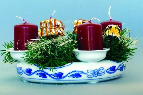 Zwiebelmuster Advent Candle Holder 21.5cm, Original Bohemia Porcelain from Dubi