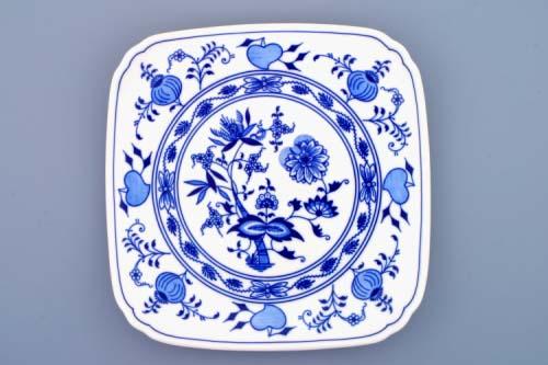 Zwiebelmuster Square Plate 21cm, Original Bohemia Porcelain from Dubi