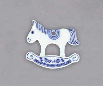 Zwiebelmuster Christmas Decoration Horse, Original Bohemia Porcelain from Dubi